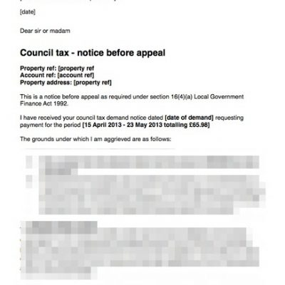 Council Tax Letter Before Appeal – Tenant Not Given Correct Notice