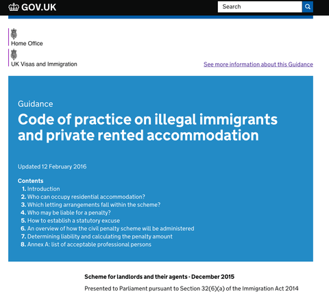 Update To Right To Rent Statutory Code Of Practice