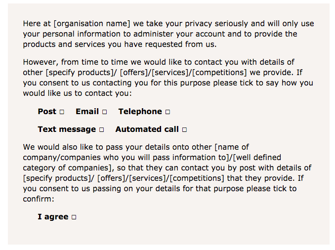 Sample privacy notice and consent GDPR